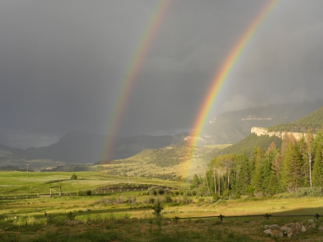 Trying to capture a full double rainbow--impossible!
