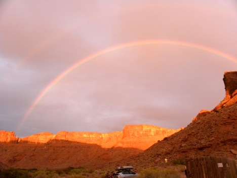 Double rainbow over my campsite on the Colorado River