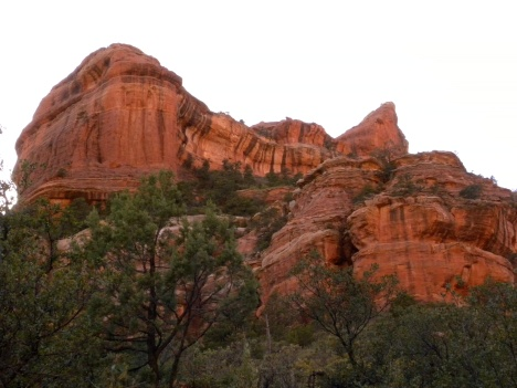 Light changes the red rock