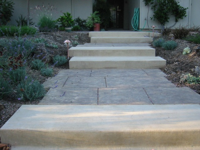 Two types of concrete are in this walkway