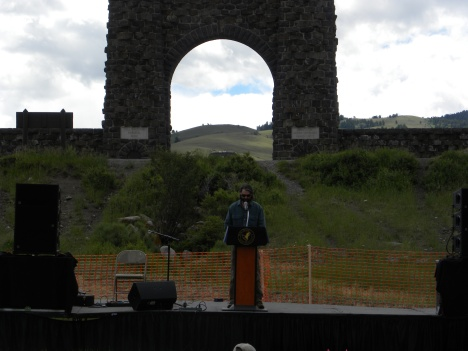 The event at Arch Park.  YNP historic arch in background