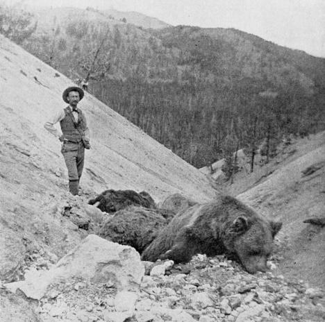 Jaggar in Yellowstone Park's death gulch where he discovered 8 dead bears killed by the noxious gases.