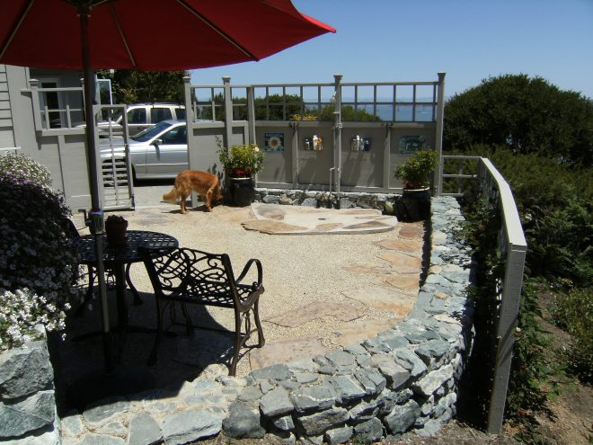 Decomposed granite patio with flagstone shower